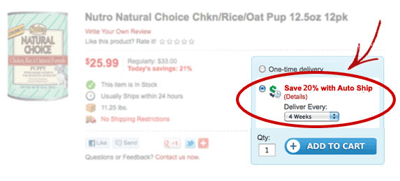 Look for the Save 20% with Auto Ship option when adding items to your cart